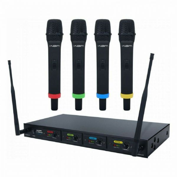 KAM KWM QUARTET WIRELESS MICROPHONE SYSTEM ~ 4 MICS / 1 RECEIVER - KWMQ